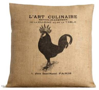French Burlap Rooster Down Pillow